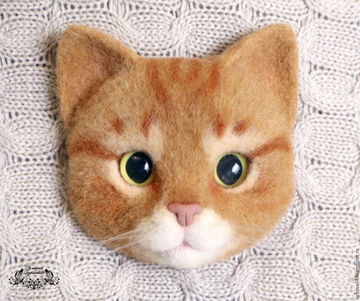Купить Брошь валяная Рыжий кот - брошь, брошь валяная, валяная брошь, брошь войлочная
