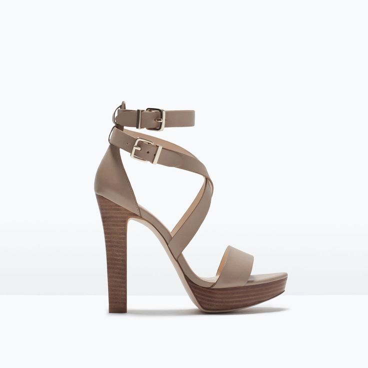WIDE HEEL LEATHER SANDAL-Heeled sandals-Shoes-WOMAN   ZARA United States
