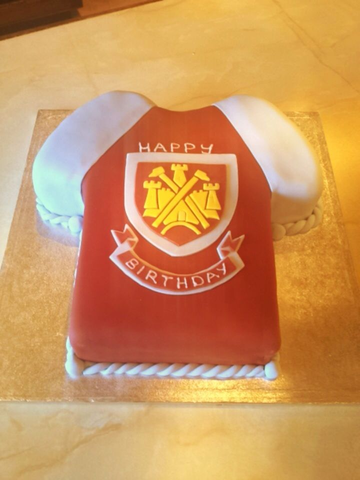 West ham t-shirt cake for my cousin I made (: