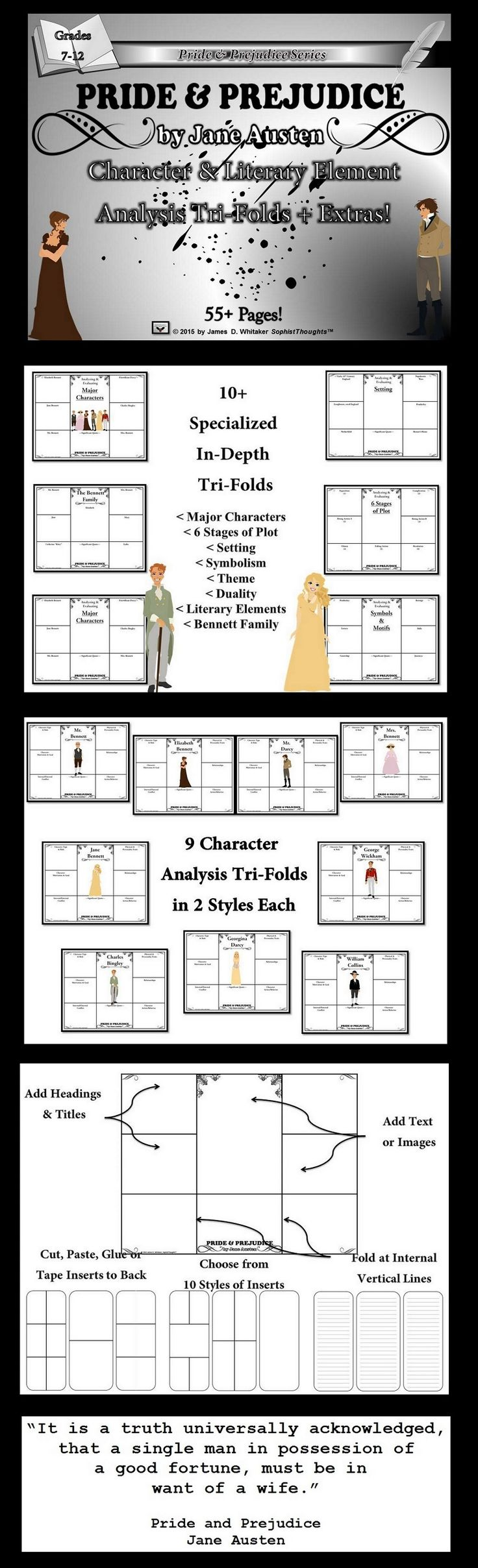 best pride and prejudice analysis ideas jane  pride prejudice by jane austen character literary element analysis tri folds extras