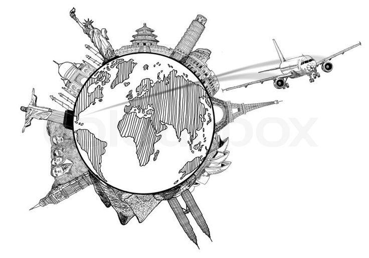 Schmale Kücheninsel : Travel around the World Drawing
