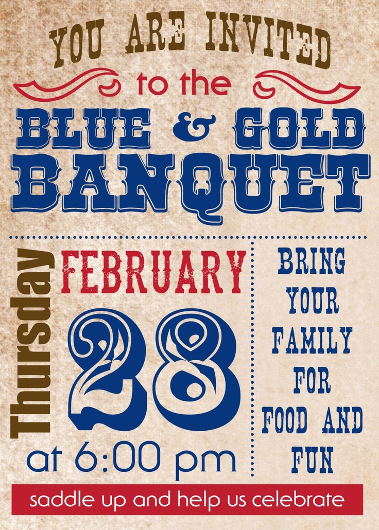 Love and Laundry: Cowboy Party–Blue and Gold Banquet Style {Good To Remember if ever in scouts!}
