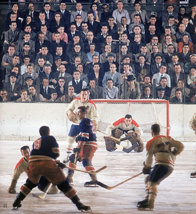 1957 photo of the rangers canadiens playing at madison - How old is madison square garden ...