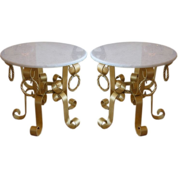 Fantastic Pair Of Italian Gilded Iron And Marble Top End Tables | $4,600 |  From A