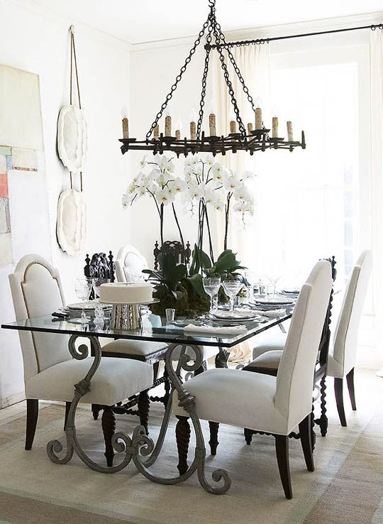 Distinctive Furnishings In A White Dining Room LOVE How The Large Piece Of Art Leans Traditional