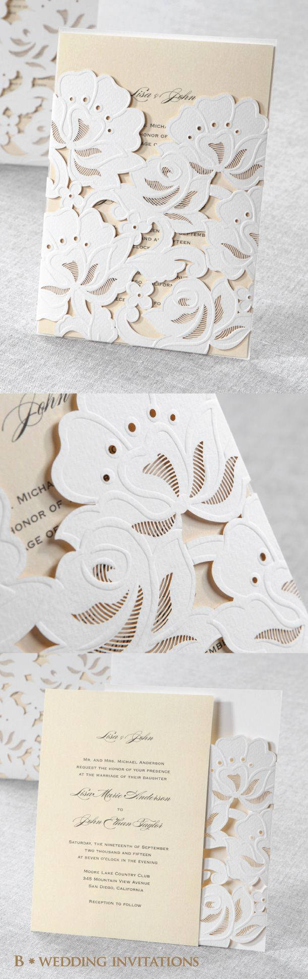 Floral Laser Cut with Embossing by B Wedding Invitations