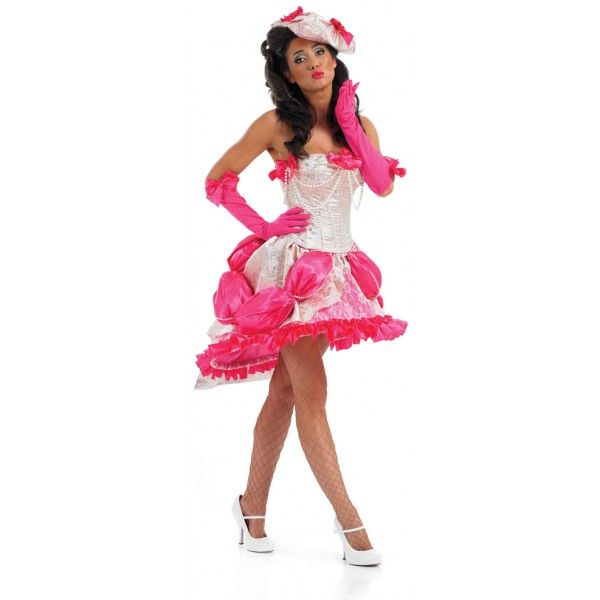 Burlesque Showgirl Costume - This colourful and elaborate burlesque costume is a great choice for any fancy dress occasion. You're sure to break a few hearts weaering this costume. Costume includes white corset, pink tutu skirt, pink gloves and white hat.