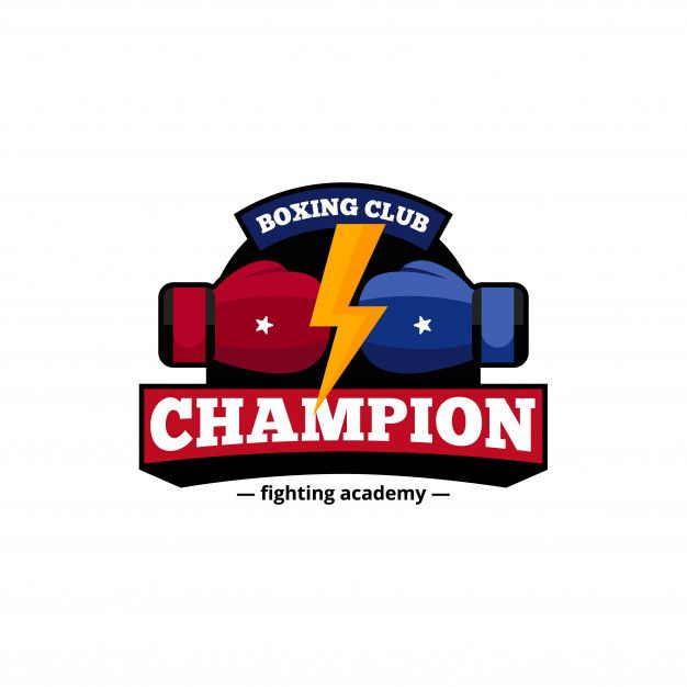 Download Fighting Academy Boxing Champions Club Logo Design In Blue And Red With Golden Lightning Flat Abstract Vector Illustration For Free In 2020 Logo Design Boxing Champions Vector Illustration