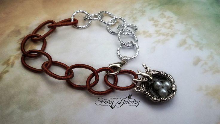 Bracciale alluminio e catena in seta maglie grandi terra di siena argentato nido, by Evangela Fairy Jewelry, 5,00 € su misshobby.com