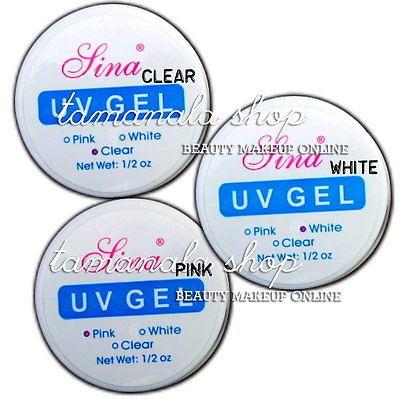 3 Piezas Color Builder-gel UV (clear+white+pink) Arte de uñas falsas consejos salón conjunto de herramientas