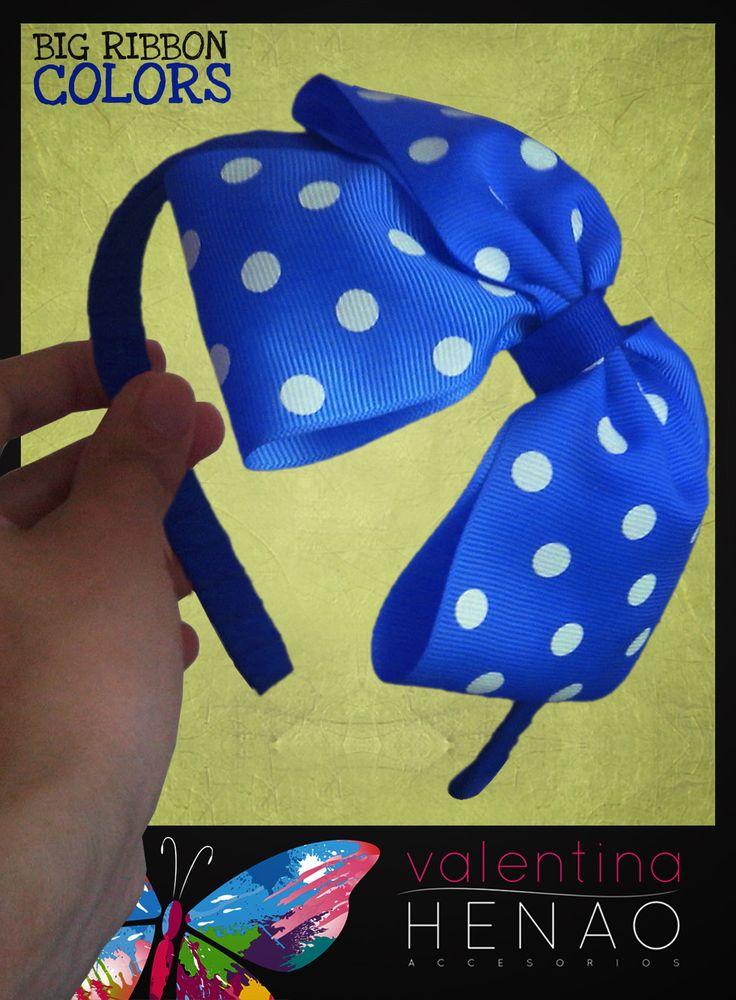 Diadema Moño grande cinta pepas azul rey