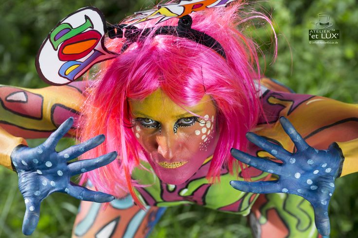 WBF 2014   Brush & Sponge Qualifications 'Pop Art'  Photography: Atelier 'et Lux', Artist ID013: Arianna Barlini - Italy, Assistent: Alice Martinelli, Model: Katia Della Fonte