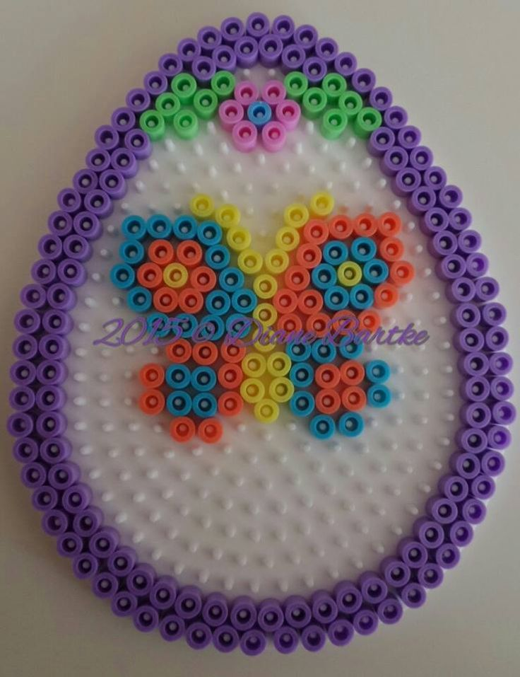 Butterfly Easter egg hama perler beads by Diane