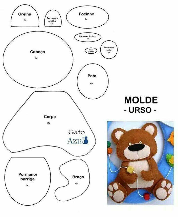 Molde urso: Bears, Molde Urso Feltro, Felt Patterns, Felts, Bear ...