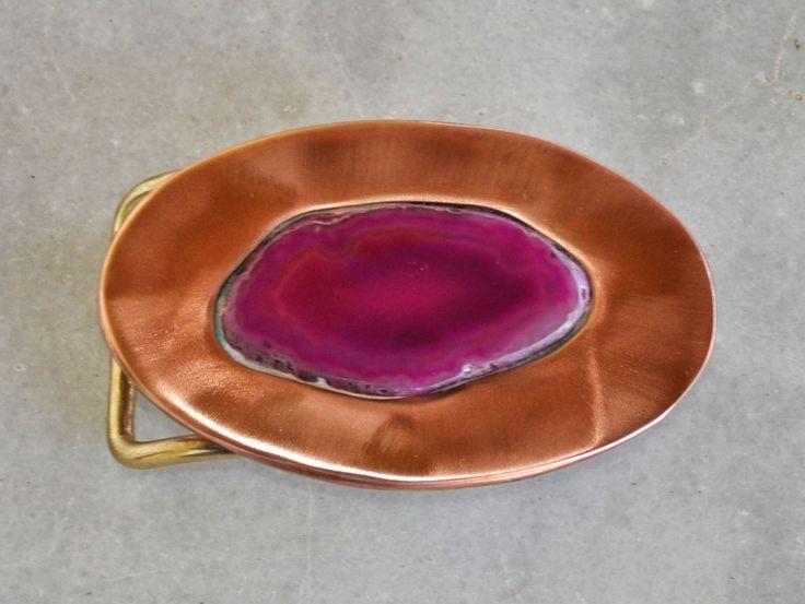 "Handmade belt buckle ""Agate"" in brass and copper by TakisBrass on Etsy"