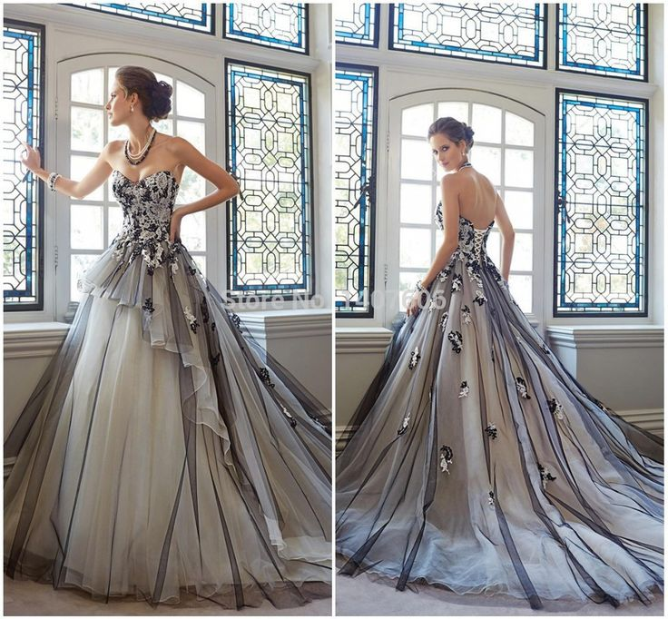 Stunning Fast Shipping Custom Made A Line White and Black Court Train Halloween Wedding Dresses Strapless