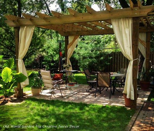 LOVE This Pergola With Canvas Drapes Adds So Much To A Backyard