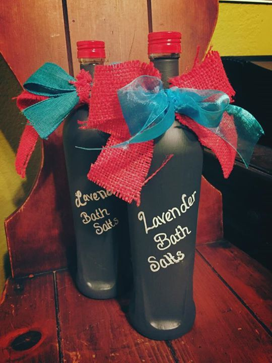 Ningixa Red bottles, chalkboard painted and filled with lavender bath salts. Perfect gifts!!!   ORDER NingXia and Lavender (or the scent of your choice) here: www.NextGenCounseling.com/Young-Living-Oils-for-Wholesale-Prices