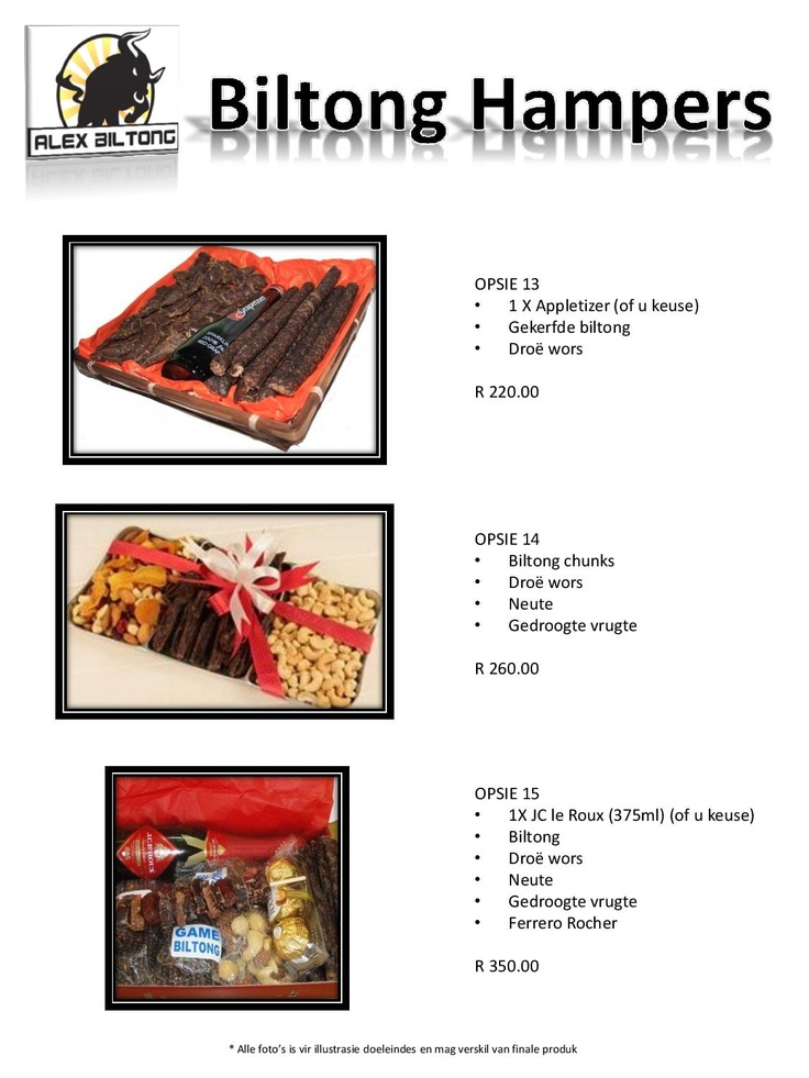 Assorted biltong hampers - always a welcome  gift!