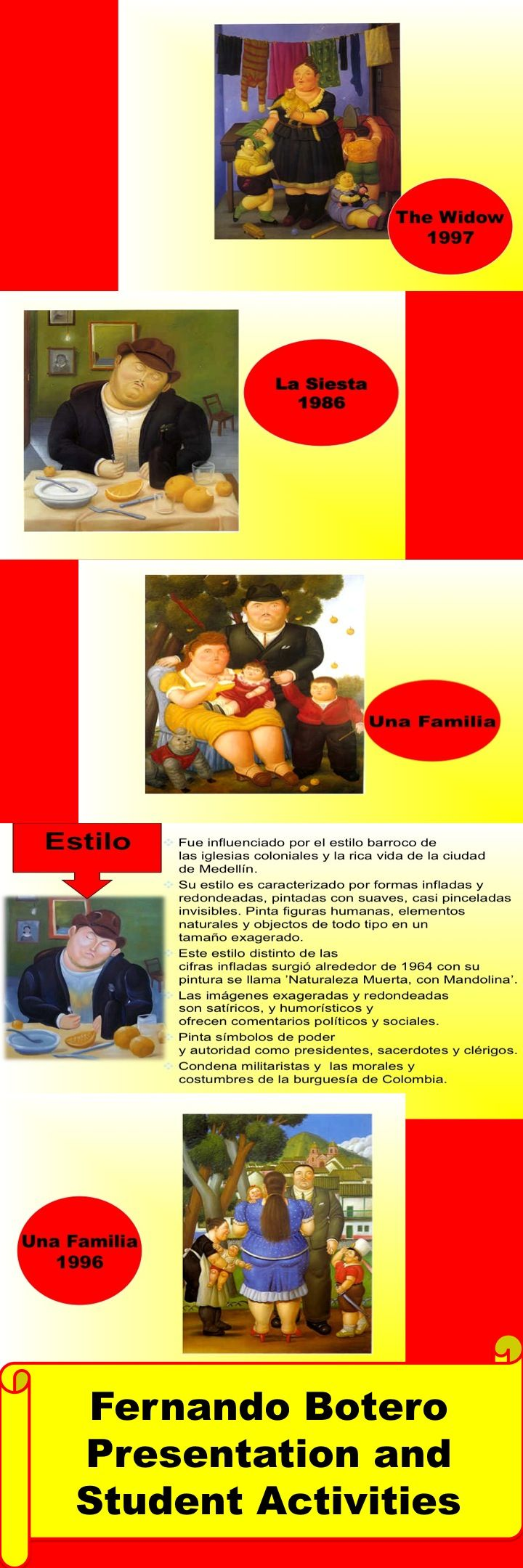 Fernando Botero Presentation and student activities. (in Spanish)