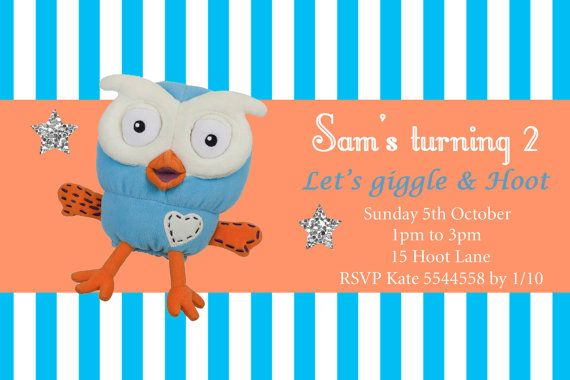 Giggle and Hoot Hootabelle Kids birthday by ClaudiaParkerDesigns, www.etsy.com
