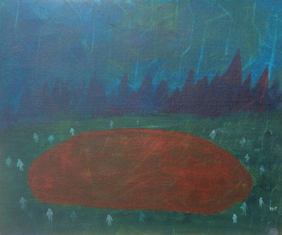 A Gathering at Red Lake. Acrylic on Canvas Board on Etsy, £25.00