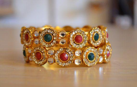 Set di Bracciali indiani con design kundan - Gioielleria in stile Bollywood color oro con pietre