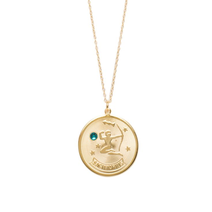 accentuality sagittarius zodiac medallion necklace
