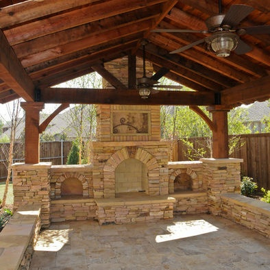 Low stone wall, wood beams and ceiling, peaked roof. Houzz ...