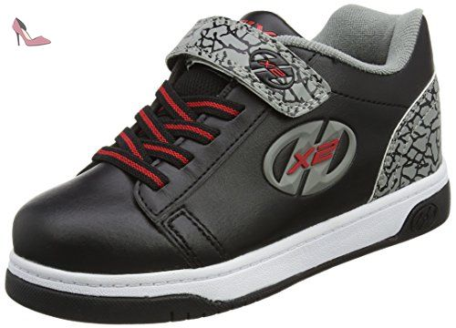 Heelys X2 Plus, Chaussures de Tennis Garçon, Blanc Cassé (White/Black/Red), 35 EU