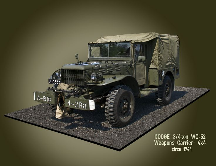 #WC52 The WC-52 Truck, Cargo, 3/4 ton, 4x4 was developed at a Dodge subsidiary, the Fargo Motor Corporation. Between 1942 and 1945, 59,114 WC-52s were built for U.S. use and shipment to allies, especially the Soviet Union where the trucks became quite common. They were utilized very broadly for many purposes in all branches of the U.S. military through World War II and the Korean War. The M-37 3/4 ton 4x4 Dodge truck gradually replaced the WC models during the mid- to late-1950s.