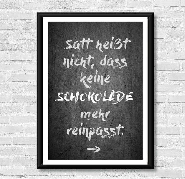 Poster mit Spruch für Schokoladenfans, Wanddeko / art print with quote for chocolate lovers, wall decoration made by LACHE LIEBE LEBE – Liebenswerte Kunstdrucke via DaWanda.com