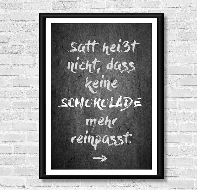 Poster mit Spruch für Schokoladenfans, Wanddeko / art print with quote for chocolate lovers, wall decoration made by LACHE LIEBE LEBE - Liebenswerte Kunstdrucke via DaWanda.com
