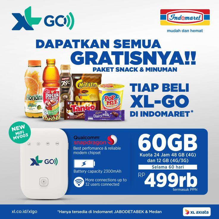 Dapatkan Paket Snack & Minuman Gratis!! Tiap Beli XL-GO di Indomaret.buruan jangan sampe kehabisan ( promo berlaku di Indomaret Jabodetabek & Medan ).  Info lebih lengkap : xl.co.id/xlgo