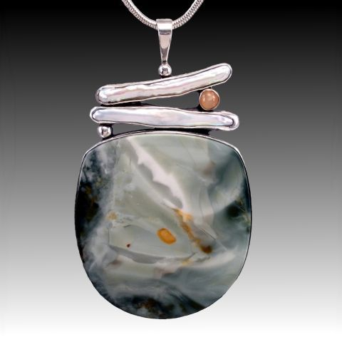 awesome Morrisonite Jasper, Pearl and Peach Moonstone Pendant - Mary and Spencer Watson...