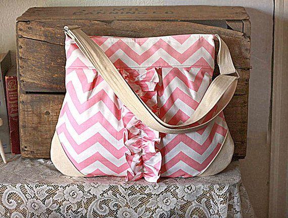chevron canvas handbag with ruffle trim messenger diaper bag tote bag in pink white colors. Black Bedroom Furniture Sets. Home Design Ideas