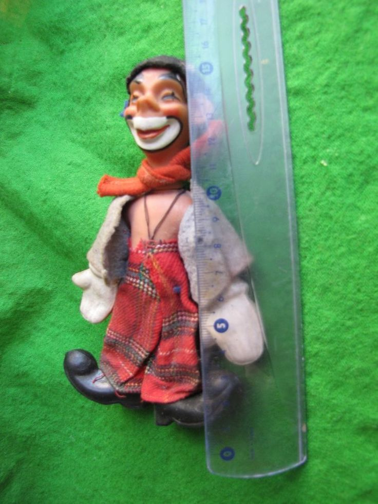 OLD VINTAGE RUSSIAN SOVIET DOLL Clown USSR lace plastic toy 1960s