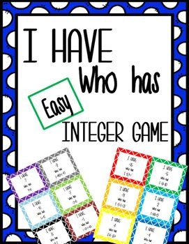 This  is an easy-to-play wrap around game that is a great way to practice basic integer subtraction or addition. This product is a simple version of the game to help students who are just starting to understand integer rules.  The numbers stay between positive 20 and negative 20.