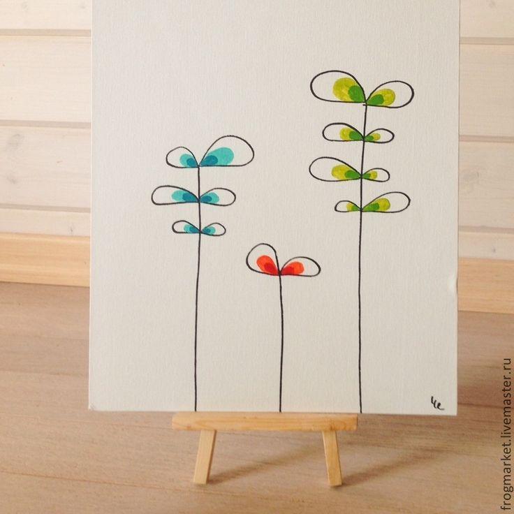 Купить Ростки - салатовый, растение, росток, цветок, иллюстрация, минимализм, яркий, бирюзовый, бирюзовый цвет