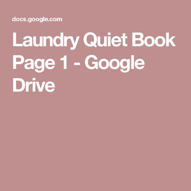 Laundry Quiet Book Page 1 - Google Drive