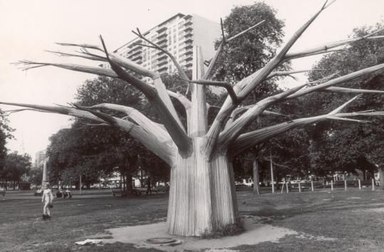 Albert A. Surman, designed the tree for the New England pavilion of the 1964 World's Fair in New York.After the fair, the tree was moved to Boston Common,  After being refurbished, from 1972 to 1992 it was the anchor for the Liberty Tree Mall.    Which is somewhat ironic since Liberty Tree was originally used to promote consumer boycotts.  According to the mall and the Surman family, however, the tree has now disappeared. Anyone on the North Shore know where it is? Anyone?