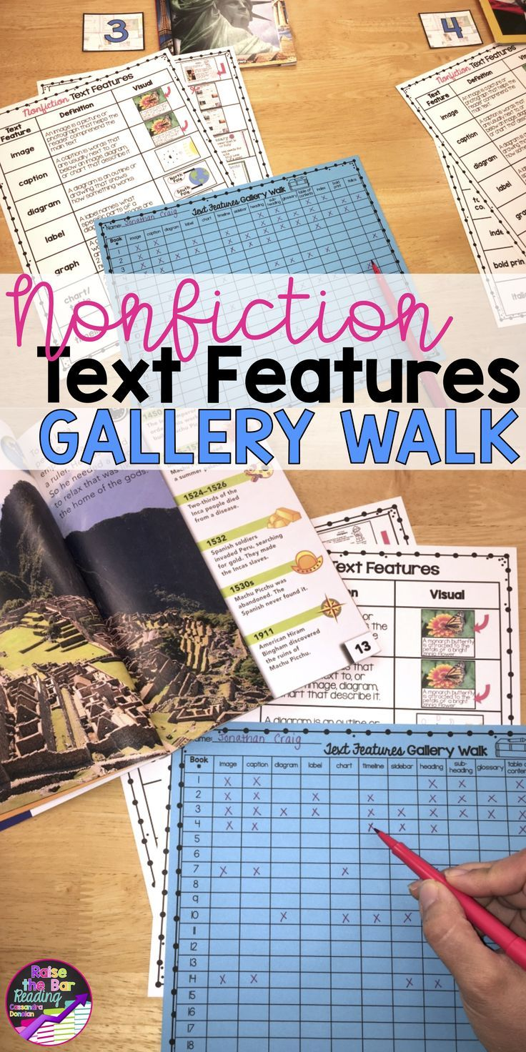 This nonfiction text features activities is so engaging!  Included is a nonfiction text features poster for your students to use during a gallery walk.  Nonfiction Poster | Text Features Poster | Nonfiction Reading | Informational Text Features | Reading Informational Text