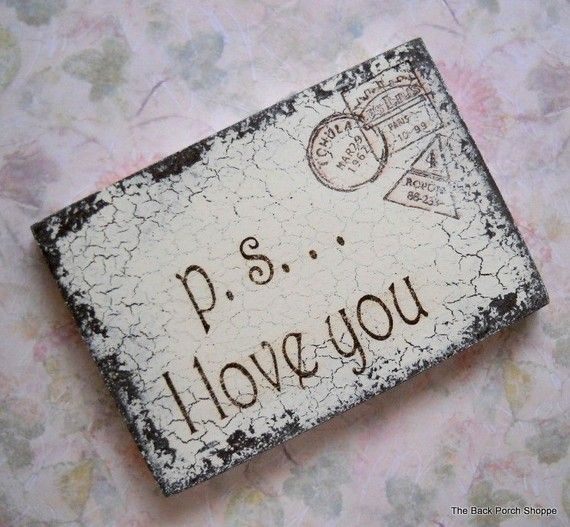 p.s. I love you or I love you more Shabby Cottage Shower Favors / Romantic Postcards / Valentines / 3 x 5 From: http://www.etsy.com/listing/61573450/ps-i-love-you-or-i-love-you-more-shabby
