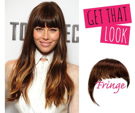 ❤ Jessica Biel gorgeous hair ❤ GET THAT LOOK with our Fringe clip-in hair extensions >> http://www.cliphair.co.uk/Clip-In-Fringe-Extensions/ Pictured above Fringe colour #4 Get it here >> http://www.cliphair.co.uk/Clip-on-Fringe-Hair-Medium-Brown-4.html