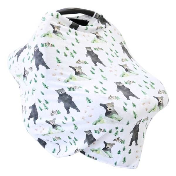 Nursing Breastfeeding Cover Stretchy Multi Use Cover Bears Car Seat Canopy