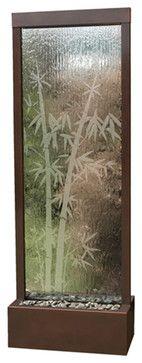 6' Dark Copper Bamboo Gardenfall Floor Water Fountain asian-indoor-fountains