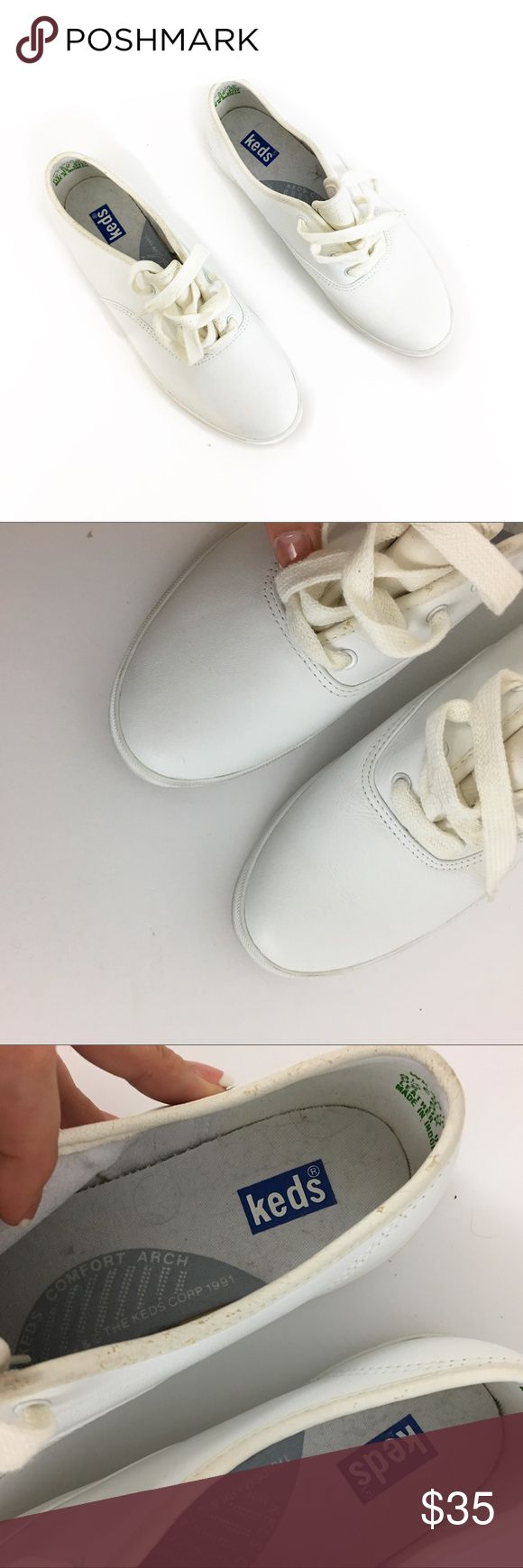 All white leather keds All white leather keds some wear to leather edging (pic 8)  Size 8.5 USA new without tags- never worn. No box.  🌹no trades 🌹discounts on bundles of 2+  🌹1000 items listed, take a peak!  🌹suggested user, posh compliant:)   bbbg Keds Shoes Sneakers