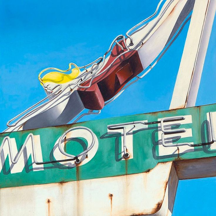 "Stunning #photorealism by seattle artist #KellieTalbot >> (@kelltalbot) on Instagram: ""Capri Motel ____________ 12"" x 12"" / oil on panel . 🎨 #kellietalbot #oilpainting #vintageneonsigns…"""