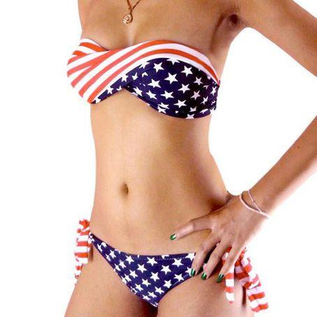 Women wearing see thru bikinis