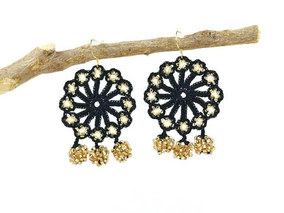 Check out this item in my Etsy shop https://www.etsy.com/listing/572111362/crochet-earrings-handmade-black-gold